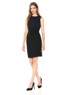 Tommy Hilfiger Women's Scuba Crepe Bi Color Dress with Side Gathering