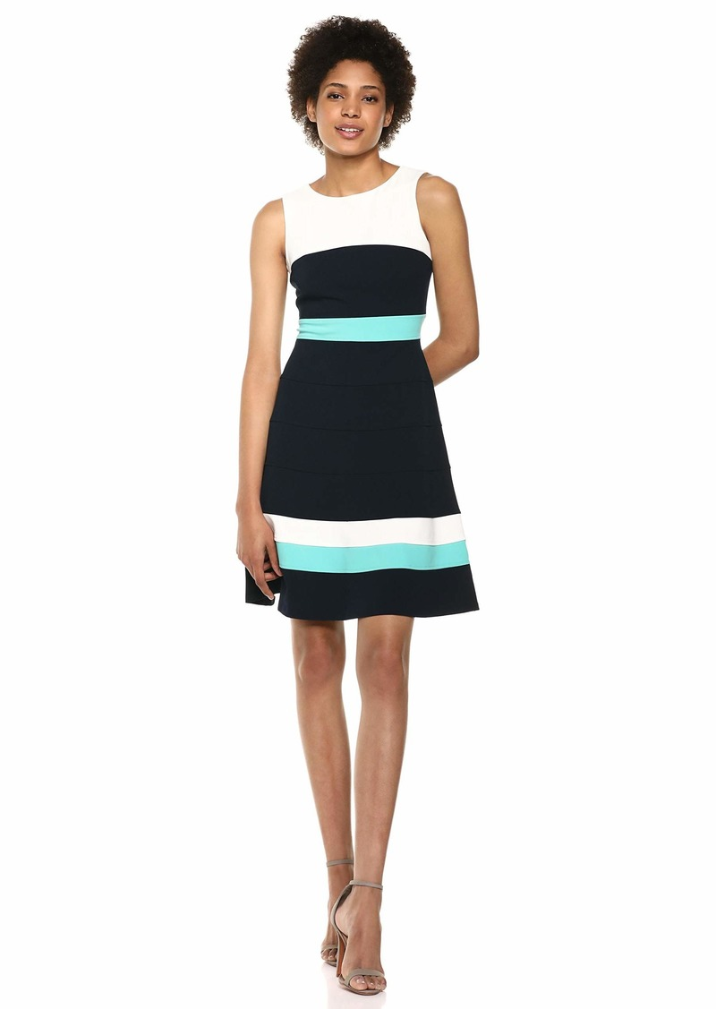 Tommy Hilfiger Women's Scuba Crepe Colorblock Fit and Flare Ivory/Sky Captain/Waterfall