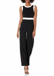 Tommy Hilfiger Women's Scuba Crepe Colorblock Jumpsuit Black/Ivory