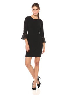 Tommy Hilfiger Women's Scuba Crepe Dress with Lace Bell Sleeve