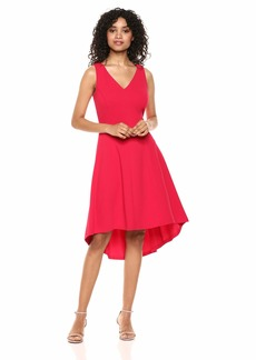Tommy Hilfiger Women's Scuba Crepe High Low Fit and Flare Dress