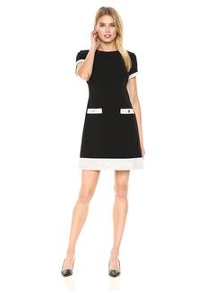 Tommy Hilfiger Women's Scuba Crepe Lame Knit Two Pocket Dress