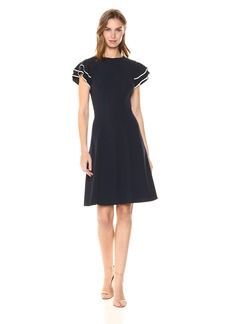 Tommy Hilfiger Women's Scuba Crepe Layer Flutter Sleeve Dress