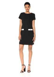 Tommy Hilfiger Women's Scuba Crepe Pocket Dress Black/Ivory