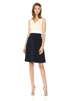 Tommy Hilfiger Women's Scuba Crepe v Neck Tri Colorblock Dress