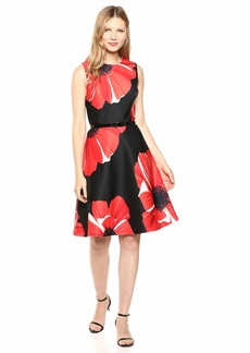 Tommy Hilfiger Women's Scuba Floral Fit and Flare Black/Cherry