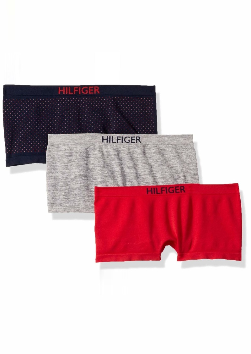 Tommy Hilfiger Women's Seamless Boyshort Underwear Panty 3 Pack pin dot Navy Blazer Blue Heather Grey/Apple red S