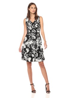 Tommy Hilfiger Women's Sheer Stripe Scuba Crepe V Neck Fit and Flare Dress