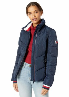 Tommy Hilfiger Women's Short Chevron Quilted Heritage Puffer Jacket  XL