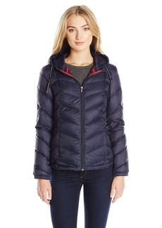 Tommy Hilfiger Women's Short Packable Down Coat with Hood  L