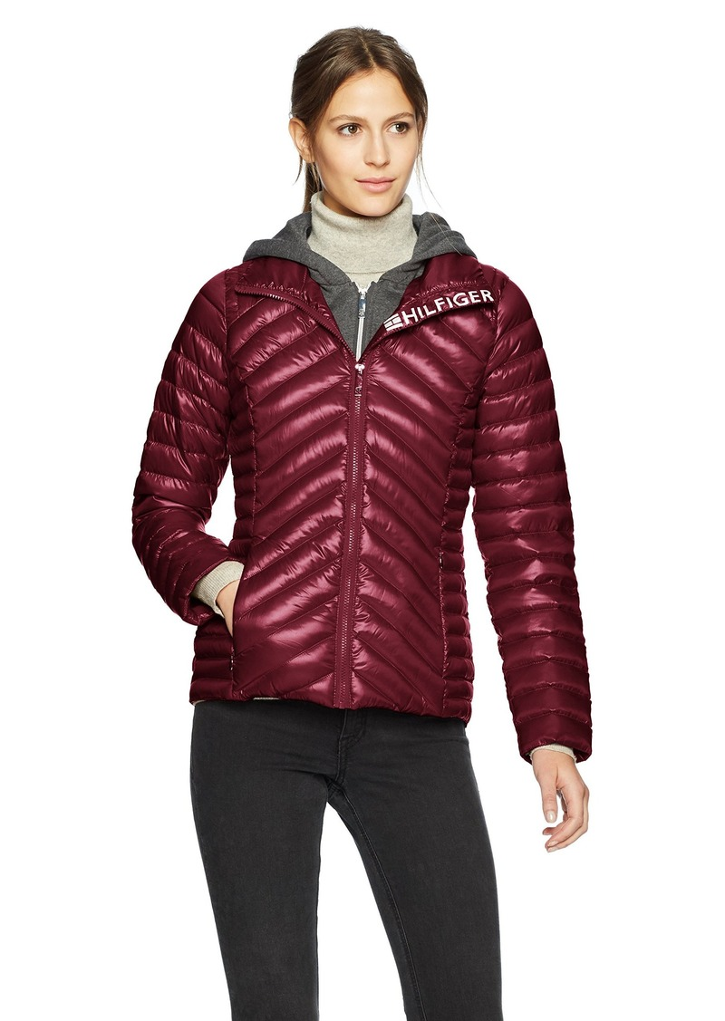 9c93b48228f2c Tommy Hilfiger Women's Short Packable Down Jacket with Logo and Zipout  Fleece Hood Extra Small