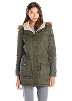 Tommy Hilfiger Women's Short Parka with Sherpa Trim