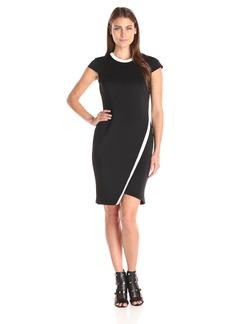 Tommy Hilfiger Women's Short Sleeve Dress with Asymmetrical Hem Black/Ivory
