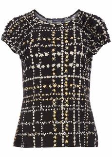 Tommy Hilfiger Women's Short Sleeve-Knit Top Black/DEEP Maize