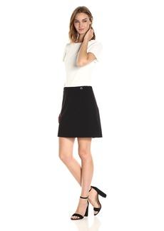Tommy Hilfiger Women's Short Sleeve Scuba Crepe Dress Black/Ivory