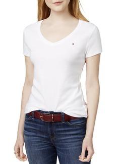 Tommy Hilfiger Women's Short Sleeve V-Neck Flag T-Shirt  M