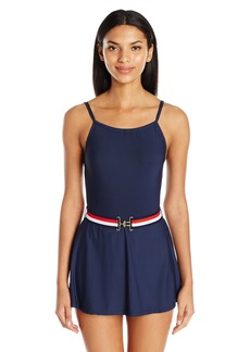 Tommy Hilfiger Women's Signature Stripe High Neck Swim Dress One Piece Swimsuit with Belt
