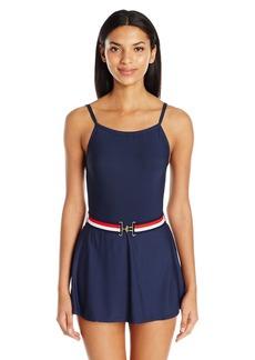 Tommy Hilfiger Women's Signature Stripe High Neck Swim Dress One Piece Swimsuit with Belt