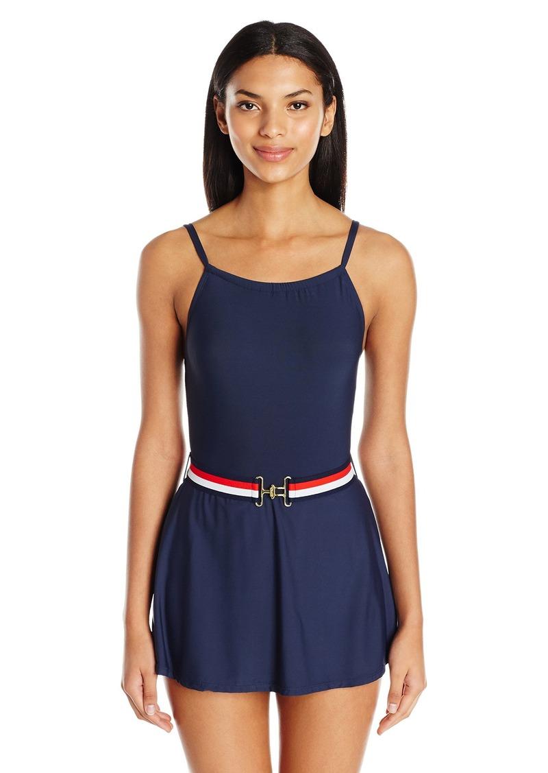 73849f36fc8 Tommy Hilfiger Women's Signature Stripe High Neck Swim Dress One Piece  Swimsuit with Belt