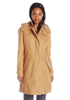 Tommy Hilfiger Women's Single Breasted Wool Coat with Hood