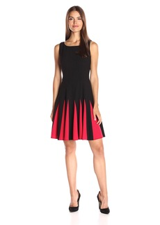 Tommy Hilfiger Women's Godet Bi-Stretch Sleeveless Fit and Flare Dress Black/Scarlet