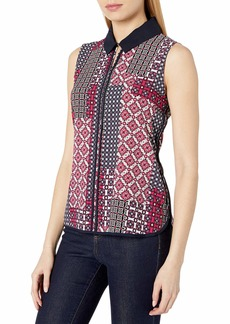Tommy Hilfiger Women's Sleeveless Collared Blouse