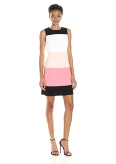 Tommy Hilfiger Women's Sleeveless Colorblock Scuba Crepe Dress