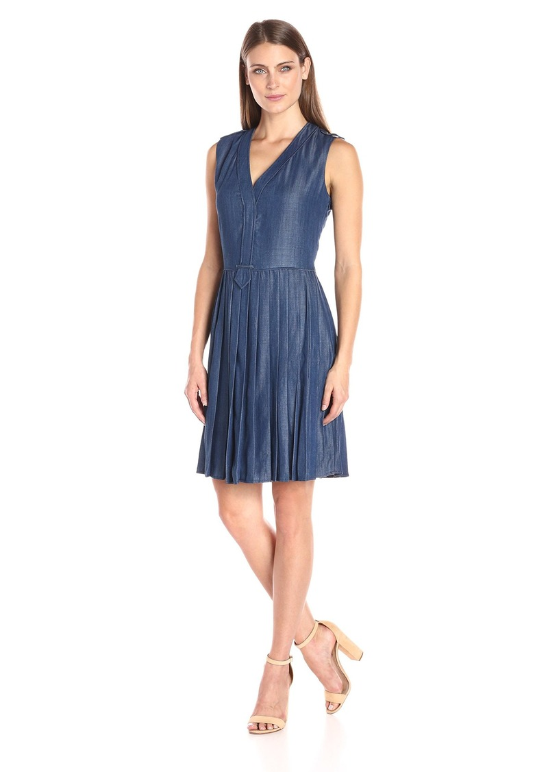 a204cbcd290c77 Tommy Hilfiger Tommy Hilfiger Women s Sleeveless Pleated Denim Dress ...