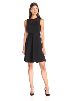 Tommy Hilfiger Women's Sleeveless Scuba Fit and Flare W. Embroidered Mesh Yoke