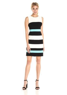 Tommy Hilfiger Women's Sleevless Scuba Crepe Stripe Dress