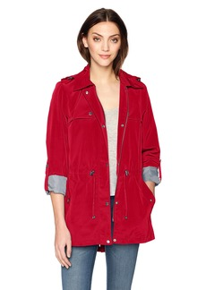 Tommy Hilfiger Women's Snap Front Hooded Rain Anorak  M