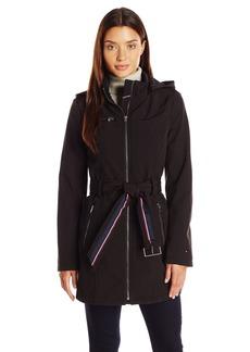 Tommy Hilfiger Women's Soft Shell Rain Coat with Detachable Hood  L