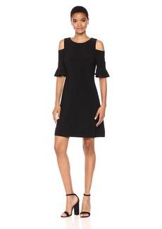Tommy Hilfiger Women's Polka-Dot Cold Shoulder Jersey Dress