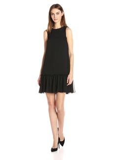Tommy Hilfiger Women's Solid Crinkle Ggt Chiffon Ruffled Hem Dress