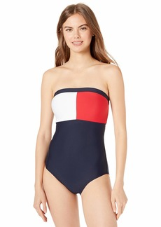Tommy Hilfiger Women's Solid Cross-Back Logo Bandeau One Piece  S