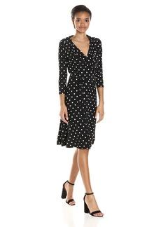 Tommy Hilfiger Women's Spaced Dot Matte Jersey Faux Wrap Dress
