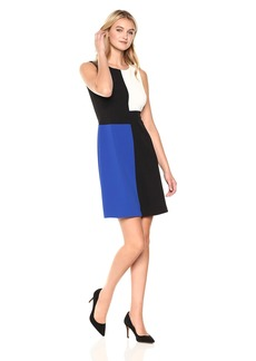 Tommy Hilfiger Women's Square Color Block Sleeveless Scuba Crepe Dress