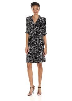 Tommy Hilfiger Women's Lace Border Print Matte Jersey Shirt Dress Black/Ivory