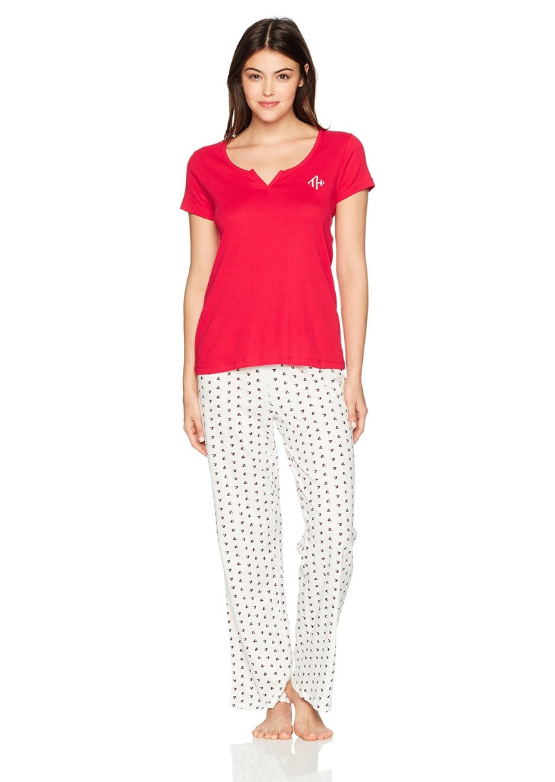 2d25bfac1 Tommy Hilfiger Women's S/s Tee With Logo Pant Ski Patrol/Egret Heart Flags