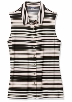 Tommy Hilfiger Women's Stripe Collared Button Down Sleeveless Top