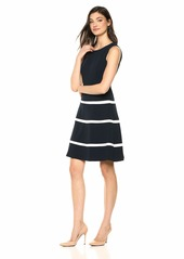 Tommy Hilfiger Women's Stripe Colorblock Swing Dress Sky Captain/Ivory