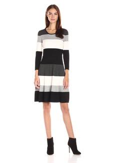 Tommy Hilfiger Women's Stripe Sweater Dress Black-Charcoal-Vanilla XL