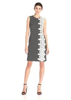 Tommy Hilfiger Women's Striped Rib Knit Crochet Side Dress Black/Ivory