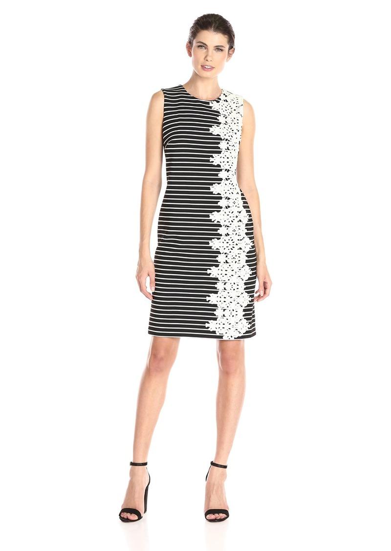 Tommy Hilfiger Women's Striped Rib Knit Crochet Side Dress