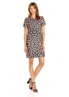 Tommy Hilfiger Women's Sunburst Leopard Short Sleeve Shift Neutral Multi