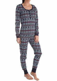Tommy Hilfiger Women's Thermal Long Sleeve Ski Pajama Set Pj Large fair isle Blue
