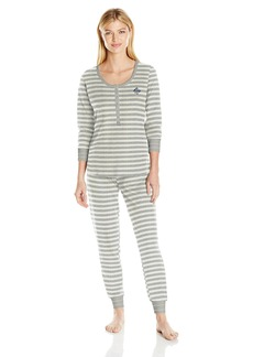Tommy Hilfiger Women's Long Sleeve Thermal Pajama Set Pj  XL