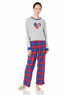 Tommy Hilfiger Women's Top and Flannel Pant Bottom Pajama Set Pj Heather Grey with Logo Tommy Tartan Red/Blue L