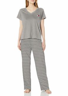 Tommy Hilfiger Women's Top and Logo Pant Lounge Bottom Pajama Set Pj Heather Gray/Heather Gray & egret Stripe L