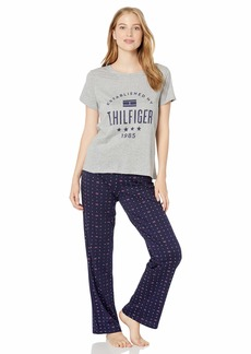 Tommy Hilfiger Women's Top and Logo Pant Lounge Bottom Pajama Set Pj Hilfiger W/Flag